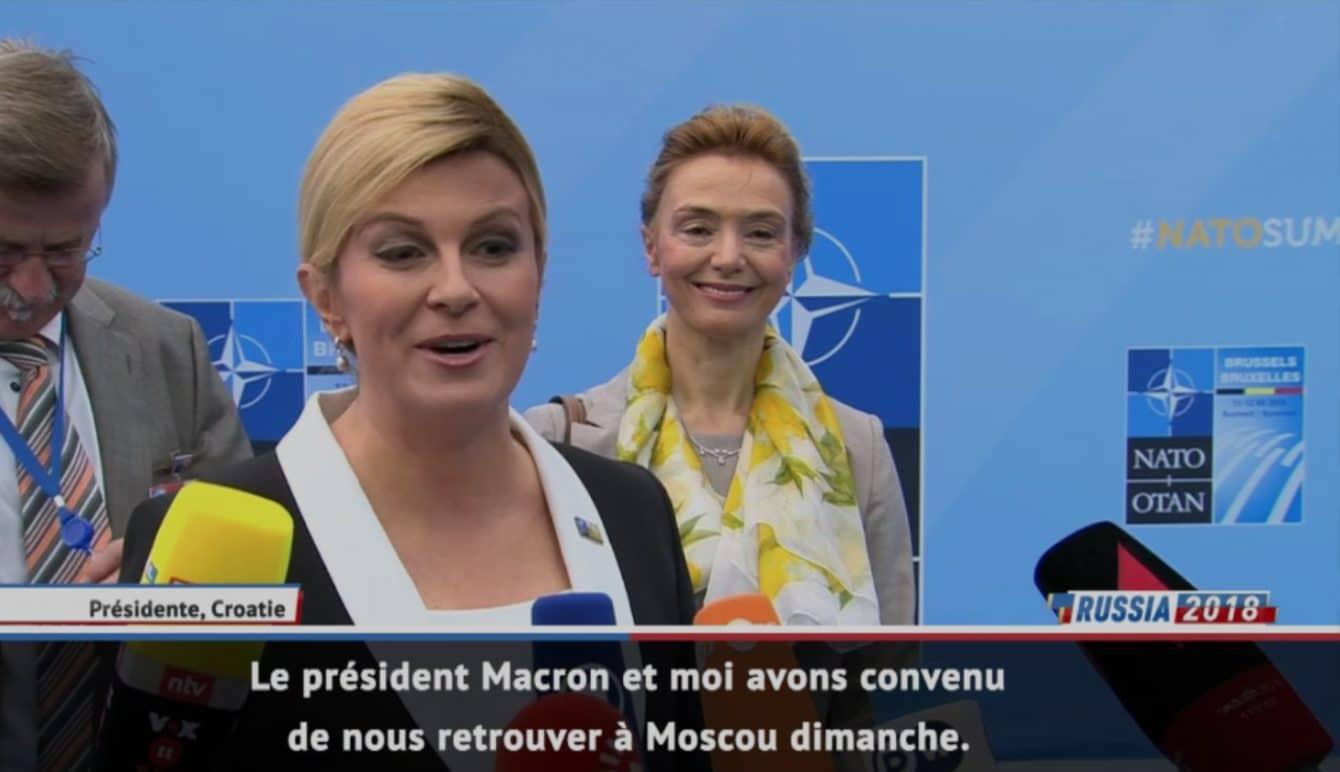 La présidente Kolinda Grabar-Kitarovic, fervente supportrice de la Croatie